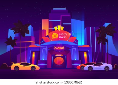 Modern resort metropolis luxury casino building exterior with bright neon illumination, clover leaf logo above door, expensive sport cars on parking in front of entrance cartoon vector illustration