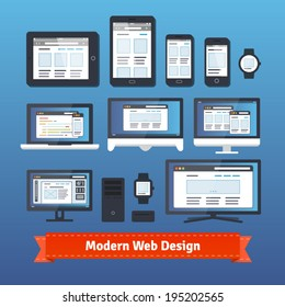 Modern responsive web design developing on all mobile and desktop devices. EPS 10 vector.