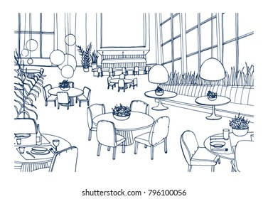 Modern restaurant or cafe interior furnished with elegant tables, chairs, pendant lights hand drawn in monochrome colors. Freehand sketch of bistro full of stylish furniture. Vector illustration.