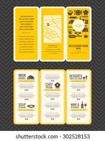 Modern Restaurant menu design pamphlet vector template in A4 size Tri fold