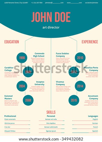 Modern Resume Cv Curriculum Vitae Template Stock Vector Royalty