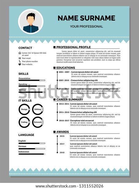 Modern Resume Template Vector Jobs Applications Stock ...