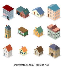 Modern retro house street isometric flat design concept vector illustration