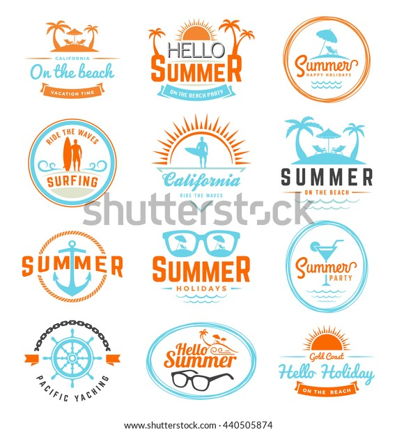 Modern retro insignia for summer holidays, surfing and nautical vector design