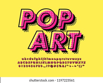 Modern retro old Pop Art Font Effect with rich texture pattern and shadow