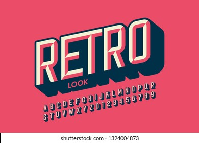 Modern retro style font design, retro look alphabet letters and numbers vector illustration