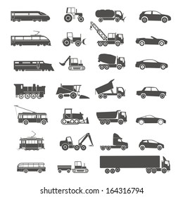 Modern and retro transport silhouettes collection isolated on white
