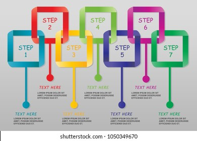 Modern ribbon Infographics isolated-vector illustration with 7 steps, Color set.