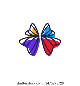 modern ribbon tie forming butterfly logo design vector icon illustration inspiration