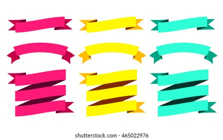 Modern Ribbons Big Set. Different Shapes. Vector Isolated Illustration