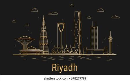 Modern Riyadh city line art, golden architecture vector illustration, skyline city, all famous buildings.