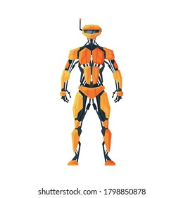 Modern Robot, Android Future Robotic Technology, Cybernetic Artificial Intelligence Machine Vector Illustration on White Background