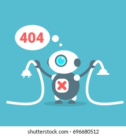 Modern Robot Connection Error Message Artificial Intelligence Technology Concept Flat Vector Illustration