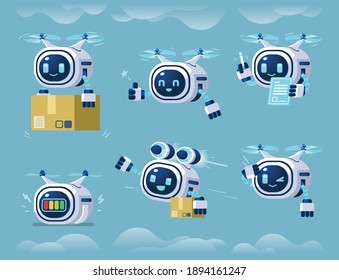 modern robot drone character mascot set