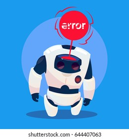 Modern Robot Error Message, Futuristic Artificial Intelligence Mechanism Technology Flat Vector Illustration