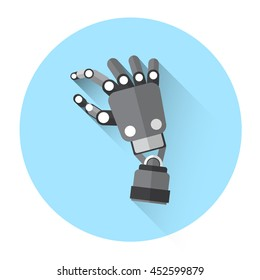 Modern Robot Hand Finger Touch Screen Icon Flat Vector Illustration