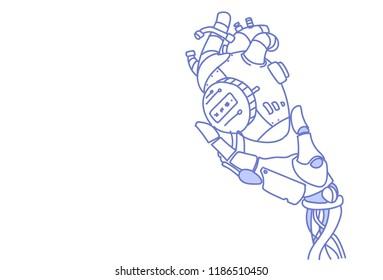modern robot hand holding steel robotic heart artificial intelligence assistance concept sketch doodle horizontal vector illustration
