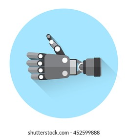 Modern Robot Hand Thumb Up Icon Flat Vector Illustration