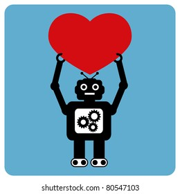 Modern robot with happy heart