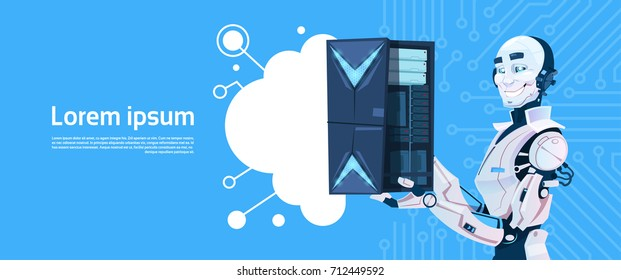 Modern Robot Hold Cloud Database Server, Futuristic Artificial Intelligence Mechanism Technology Flat Vector Illustration
