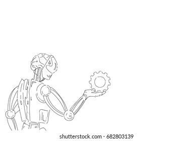 Modern Robot Hold Cog Wheel Artificial Intelligence Technology Skecth Vector Illustration
