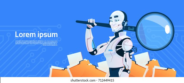 Modern Robot Hold Magnifying Glass Data Search Concept, Futuristic Artificial Intelligence Mechanism Technology Flat Vector Illustration