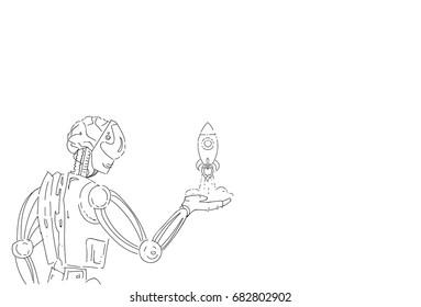 Modern Robot Hold Space Rocket Artificial Intelligence Technology Sketch Vector Illustration