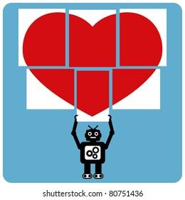 Modern robot with jigsaw happy heart