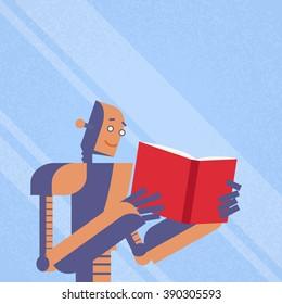 Modern Robot Read Book Study Flat Vector Illustration