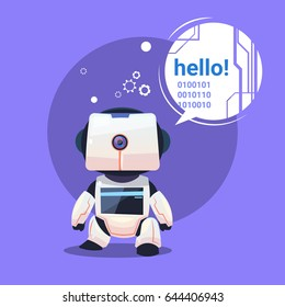 Modern Robot Says Hello, Futuristic Artificial Intelligence Mechanism Technology Flat Vector Illustration