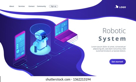 Modern robotics system connected with mobile phone and laptop. WiFi controlled robotics, robotics development, robotic programming concept. Isometric 3D website app landing web page template