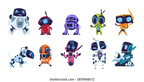 Modern robots. Cartoon friendly mascots. Colorful personal assistants. Collection of mechanical toys. Artificial intelligence or scientific innovation technologies. Vector isolated automation machines