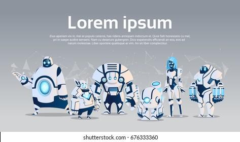 Modern Robots Group Artificial Intelligence Technology Flat Vector Illustration