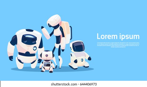 Modern Robots Group, Futuristic Artificial Intelligence Mechanism Technology Flat Vector Illustration