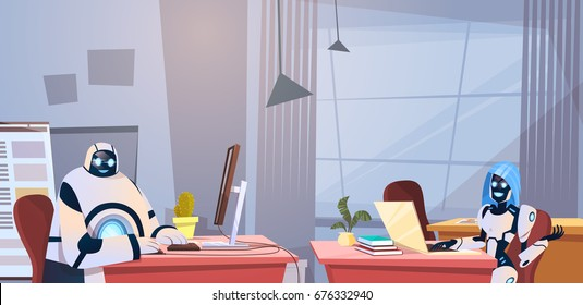 Modern Robots Working In Office Sitting At Desk Artificial Intelligence Technology Concept Flat Vector Illustration