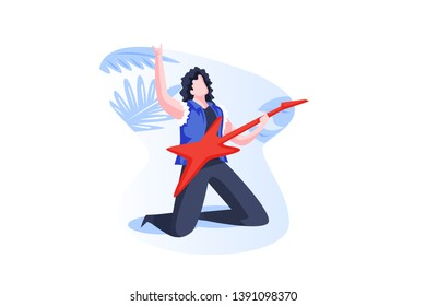 Modern Rockstar Guitar Player People Concept Vector Illustration, Suitable for landing page, ui, web, mobile app intro card, editorial print, flyer, and banner