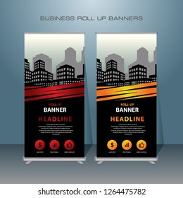 Modern Roll Up Banner. Red and Orange Color Vector Template design for Advertising