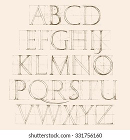 Modern Roman Classic Alphabet with a Method of Geometrical Construction for Large Letters. Sketch alphabet typeset. Classic letters. Construction of letters. Typography. Vintage alphabet.