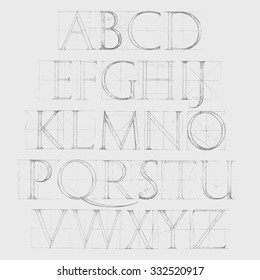 Modern Roman Classic Alphabet with a Method of Geometrical Construction for Large Letters. Font Latin Greece Antique. Hand drawn construction sketch of ABC letters in old fashion vintage style.