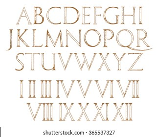 Modern Roman Classic Alphabet with a Method of Geometrical Construction for Large Letters. Hand drawn construction sketch of ABC letters in old fashion vintage style. Numbers included
