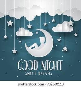 Modern Romantic Paper Art Good Night Card Illustration - Future Dreams
