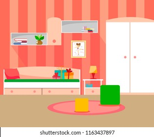 Modern room for girls in pink colors of flat style.