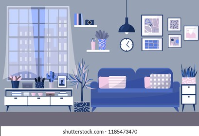 Modern room interior design vector illustration in flat style