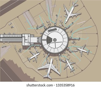 Modern round Airport terminal above view plane aircraft vector illustration line outline aviation airplane jet