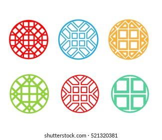 Modern round Korean pattern window frame, vector