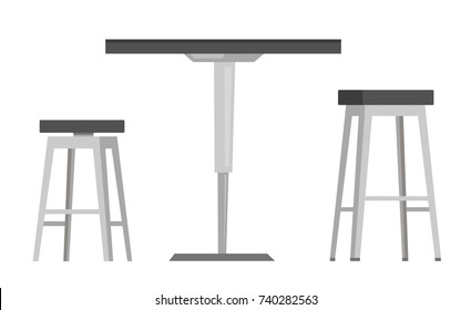Modern round table with two bar chairs vector cartoon illustration isolated on white background.