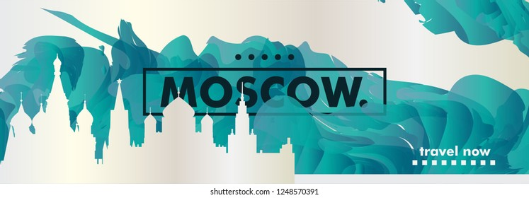 Modern Russia Moscow skyline abstract gradient website banner. Travel guide cover city vector illustration