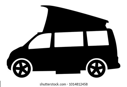 A modern rv camper van silhouette isolated on a whote background