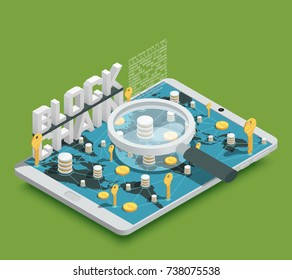 Modern safe virtual payments methods isometric composition with cryptocurrency blockchain symbols on fresh green background vector illustration