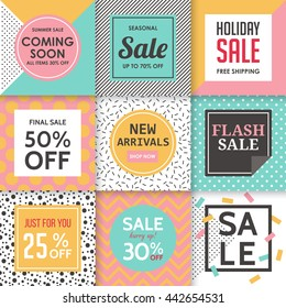 Modern sale banners template for social media and mobile apps. Creative sale banners with pattern design. Colorful summer background for sale banners.